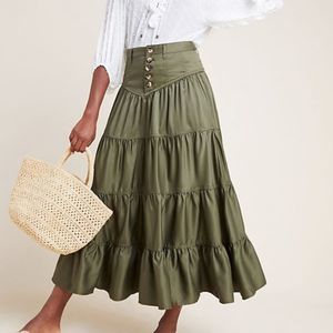 Anthropologie Lainey Tiered Maxi Skirt Size 14